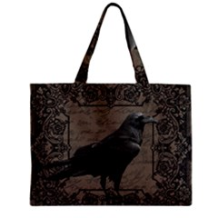 Vintage Halloween Raven Zipper Mini Tote Bag