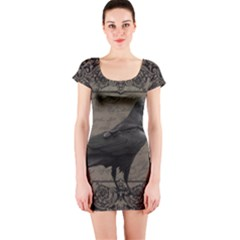 Vintage Halloween Raven Short Sleeve Bodycon Dress