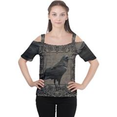 Vintage Halloween Raven Cutout Shoulder Tee