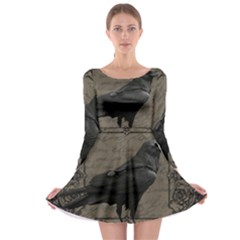 Vintage Halloween Raven Long Sleeve Skater Dress