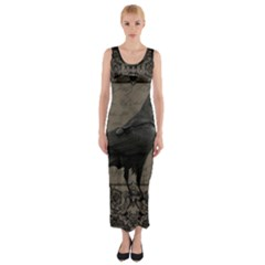 Vintage Halloween Raven Fitted Maxi Dress