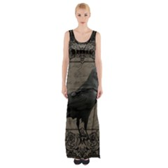 Vintage Halloween Raven Maxi Thigh Split Dress