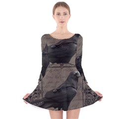 Vintage Halloween Raven Long Sleeve Velvet Skater Dress