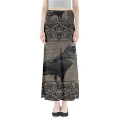 Vintage Halloween Raven Full Length Maxi Skirt