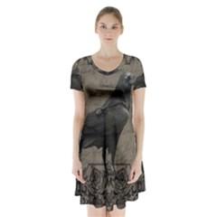 Vintage Halloween Raven Short Sleeve V Neck Flare Dress