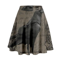 Vintage Halloween Raven High Waist Skirt