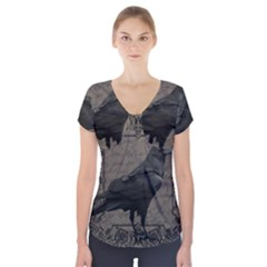 Vintage Halloween Raven Short Sleeve Front Detail Top