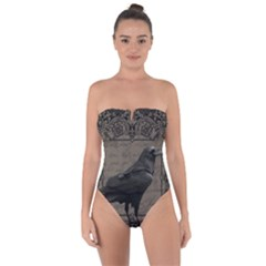 Vintage Halloween Raven Tie Back One Piece Swimsuit