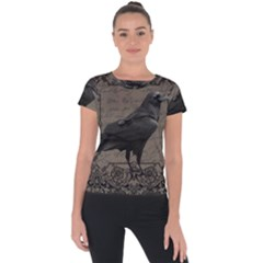 Vintage Halloween Raven Short Sleeve Sports Top