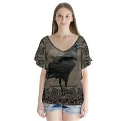 Vintage Halloween Raven V Neck Flutter Sleeve Top