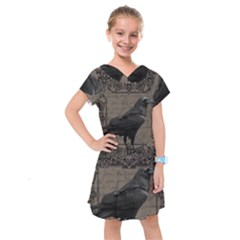 Vintage Halloween Raven Kids  Drop Waist Dress