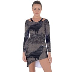 Vintage Halloween Raven Asymmetric Cut Out Shift Dress