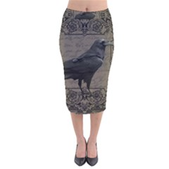 Vintage Halloween Raven Velvet Midi Pencil Skirt
