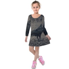 Vintage Halloween Raven Kids  Long Sleeve Velvet Dress