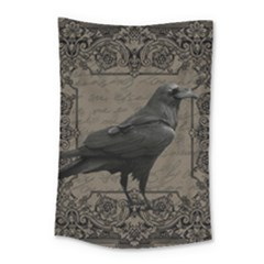 Vintage Halloween Raven Small Tapestry