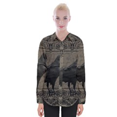 Vintage Halloween Raven Womens Long Sleeve Shirt