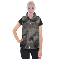 Vintage Halloween Raven Women s Button Up Puffer Vest