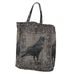 Vintage Halloween Raven Giant Grocery Zipper Tote