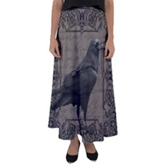 Vintage Halloween Raven Flared Maxi Skirt
