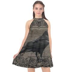 Vintage Halloween Raven Halter Neckline Chiffon Dress