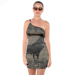 Vintage Halloween Raven One Soulder Bodycon Dress