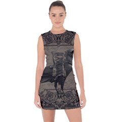 Vintage Halloween Raven Lace Up Front Bodycon Dress