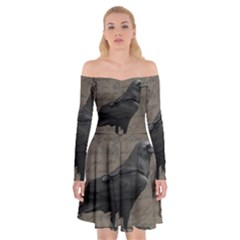 Vintage Halloween Raven Off Shoulder Skater Dress