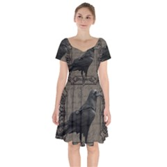 Vintage Halloween Raven Short Sleeve Bardot Dress