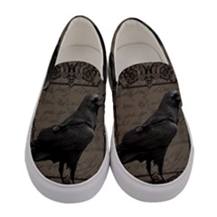 Vintage Halloween Raven Women s Canvas Slip Ons