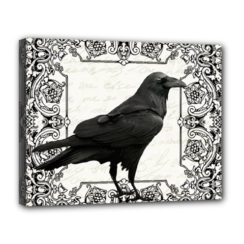 Vintage Halloween Raven Canvas 14  X 11