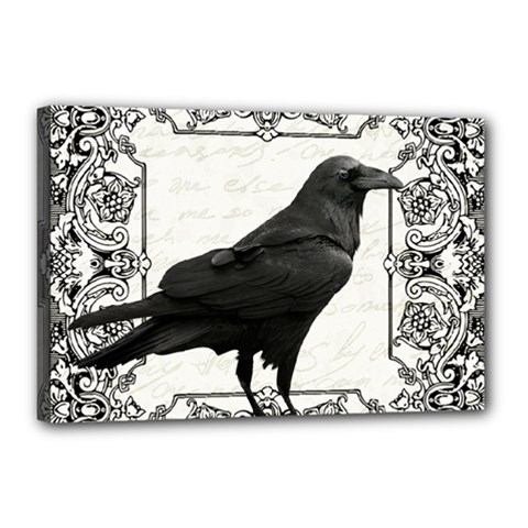 Vintage Halloween Raven Canvas 18  X 12
