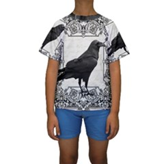 Vintage Halloween Raven Kids  Short Sleeve Swimwear