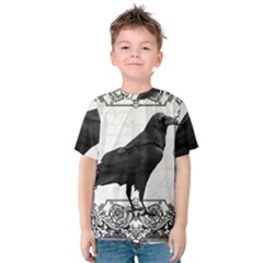 Vintage Halloween Raven Kids  Cotton Tee