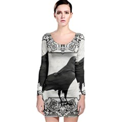 Vintage Halloween Raven Long Sleeve Bodycon Dress