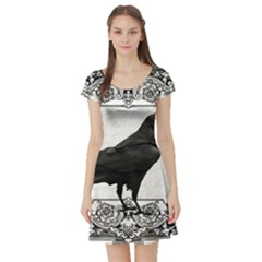 Vintage Halloween Raven Short Sleeve Skater Dress