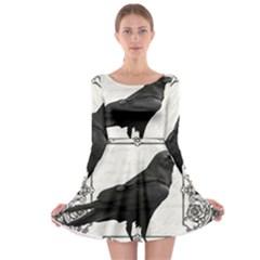 Vintage Halloween Raven Long Sleeve Skater Dress