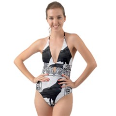 Vintage Halloween Raven Halter Cut Out One Piece Swimsuit