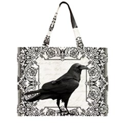 Vintage Halloween Raven Zipper Large Tote Bag
