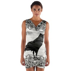 Vintage Halloween Raven Wrap Front Bodycon Dress