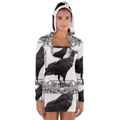 Vintage Halloween Raven Long Sleeve Hooded T Shirt