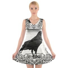 Vintage Halloween Raven V Neck Sleeveless Skater Dress