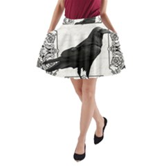 Vintage Halloween Raven A Line Pocket Skirt