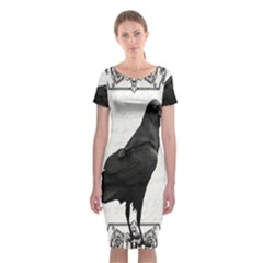 Vintage Halloween Raven Classic Short Sleeve Midi Dress