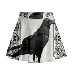 Vintage Halloween Raven Mini Flare Skirt