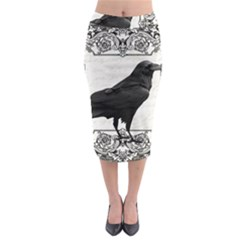 Vintage Halloween Raven Midi Pencil Skirt