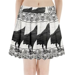 Vintage Halloween Raven Pleated Mini Skirt