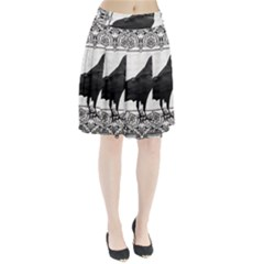 Vintage Halloween Raven Pleated Skirt
