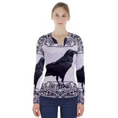 Vintage Halloween Raven V Neck Long Sleeve Top