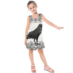 Vintage Halloween Raven Kids  Sleeveless Dress