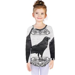 Vintage Halloween Raven Kids  Long Sleeve Tee